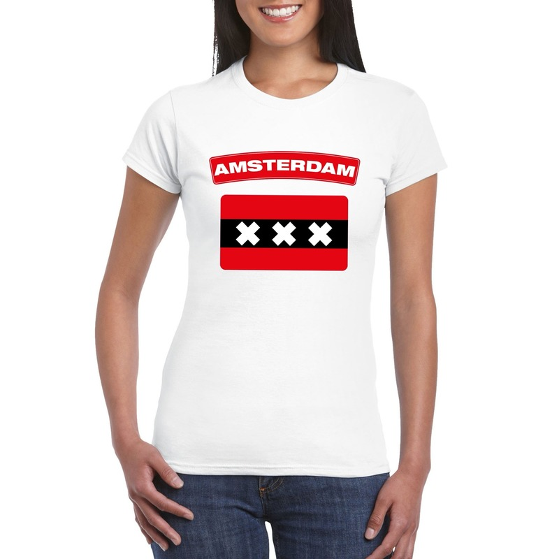 T-shirt amsterdamse vlag wit dames