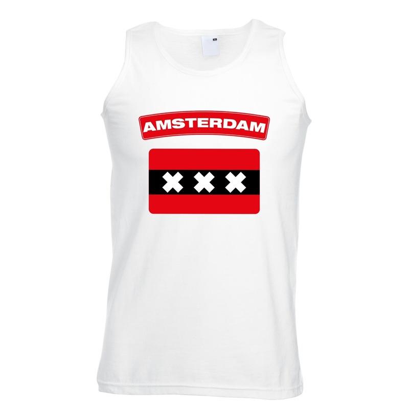 Amsterdam vlag mouwloos shirt wit heren
