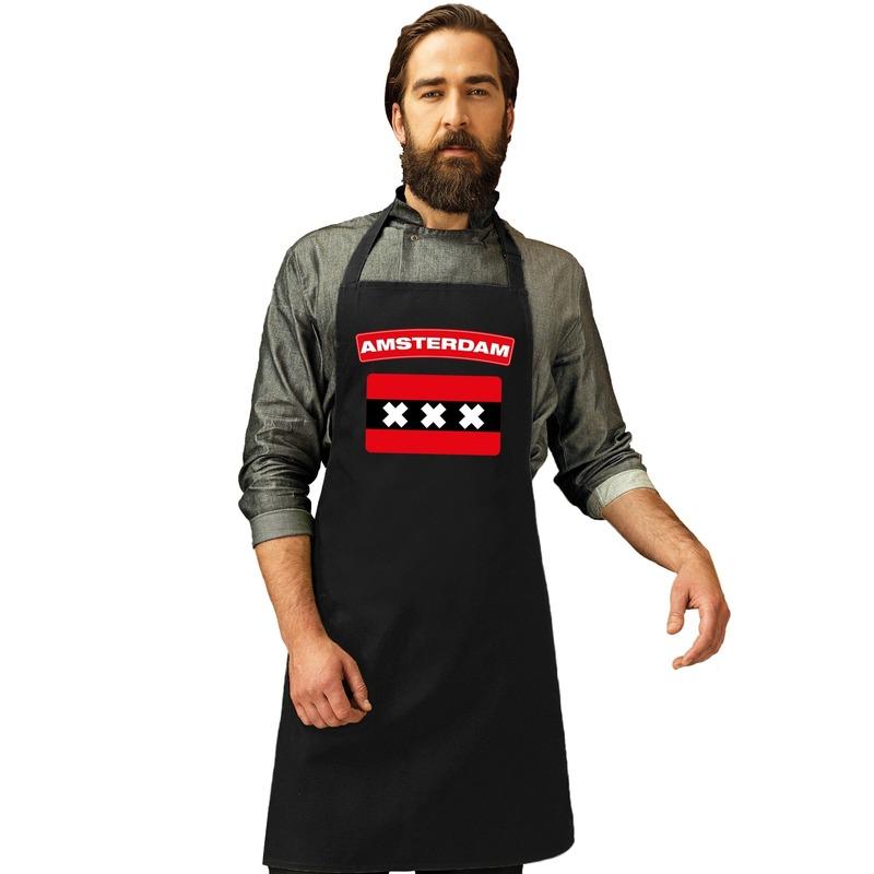 Amsterdamse vlag keukenschort/ barbecueschort zwart heren en dames
