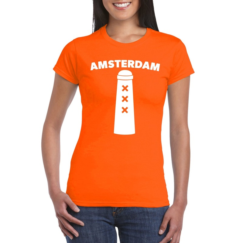 Amsterdam shirt met amsterdammertje oranje dames