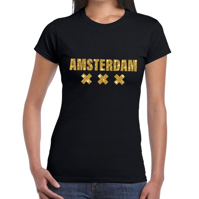 Amsterdam gouden letters fun t shirt zwart voor dames