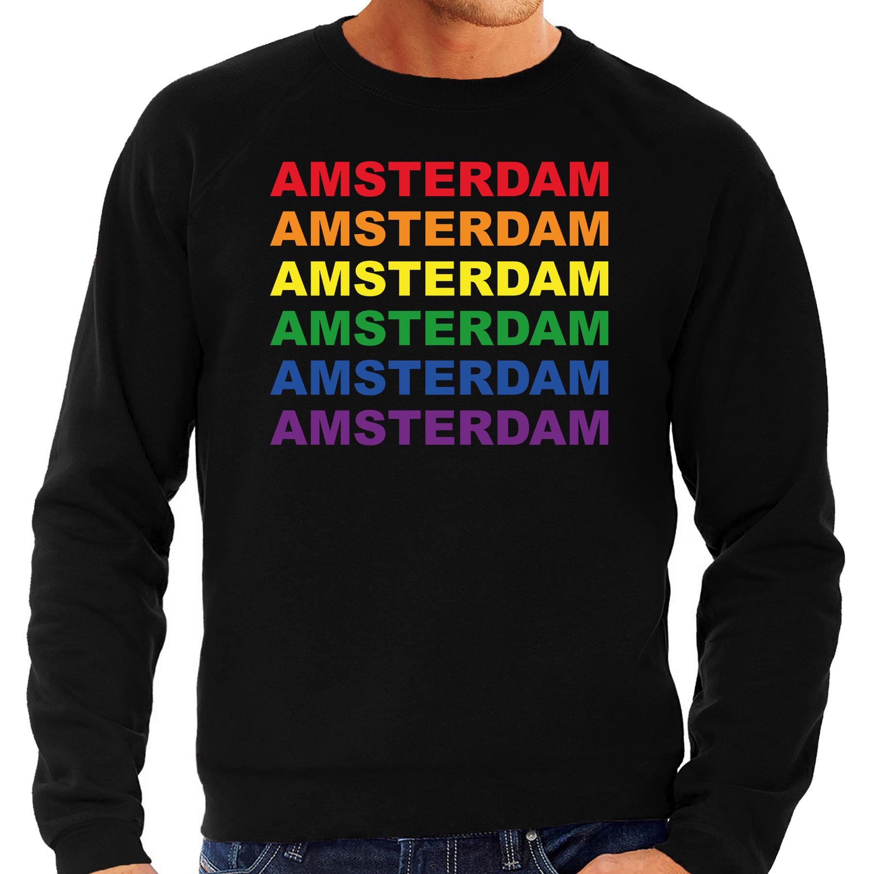 Regenboog amsterdam gay pride evenement sweater voor heren zwart