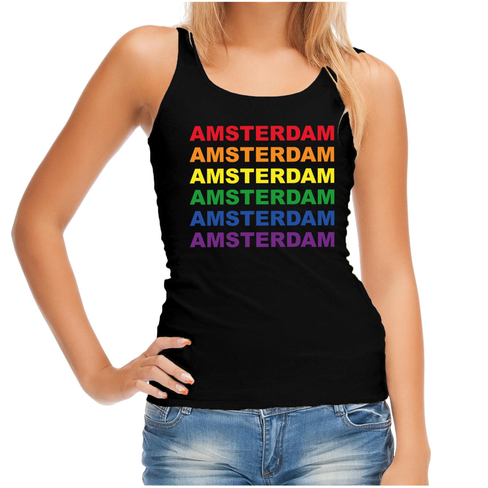 Regenboog amsterdam gay pride evenement tanktop voor dames zwart