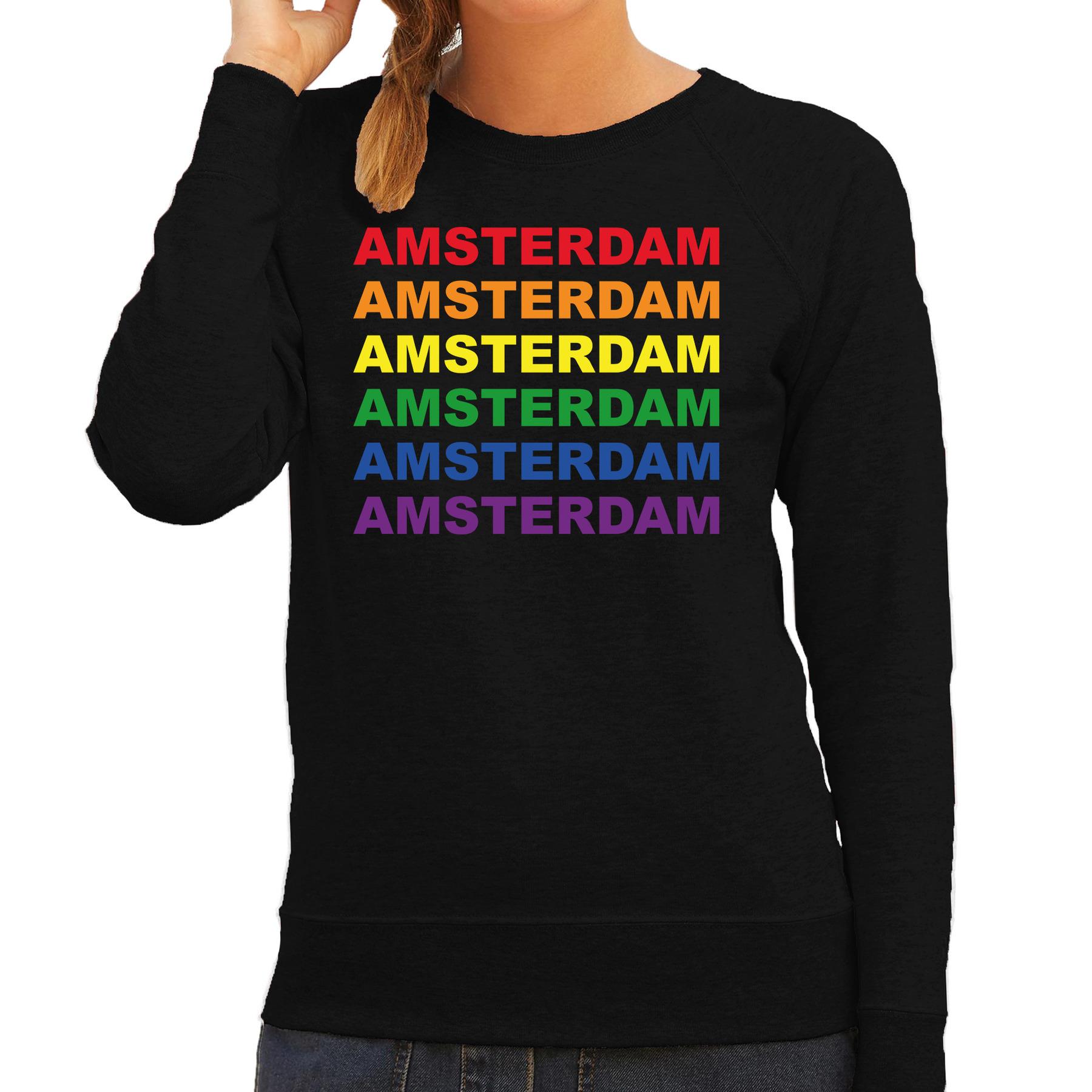 Regenboog amsterdam gay pride evenement sweater voor dames zwart