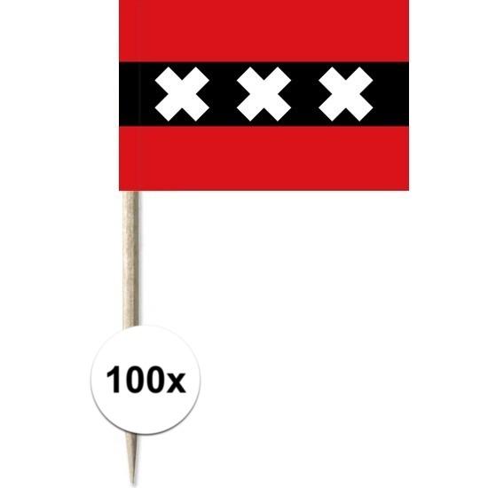 100x vlaggetjes prikkers amsterdam 8 cm hout papier
