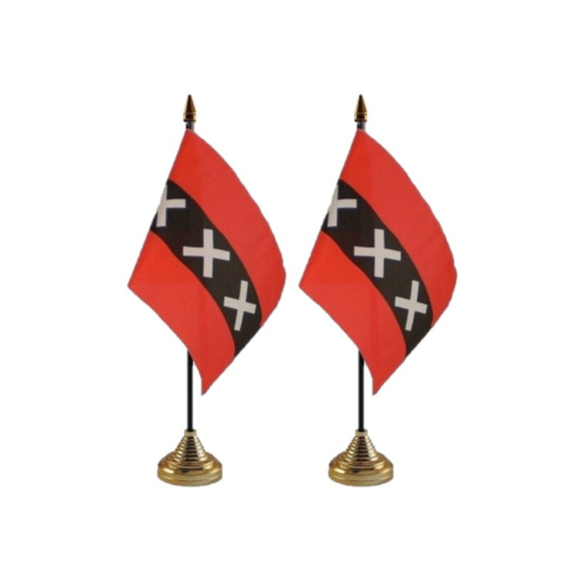 2x stuks amsterdam tafelvlaggetjes 10 x 15 cm met standaard