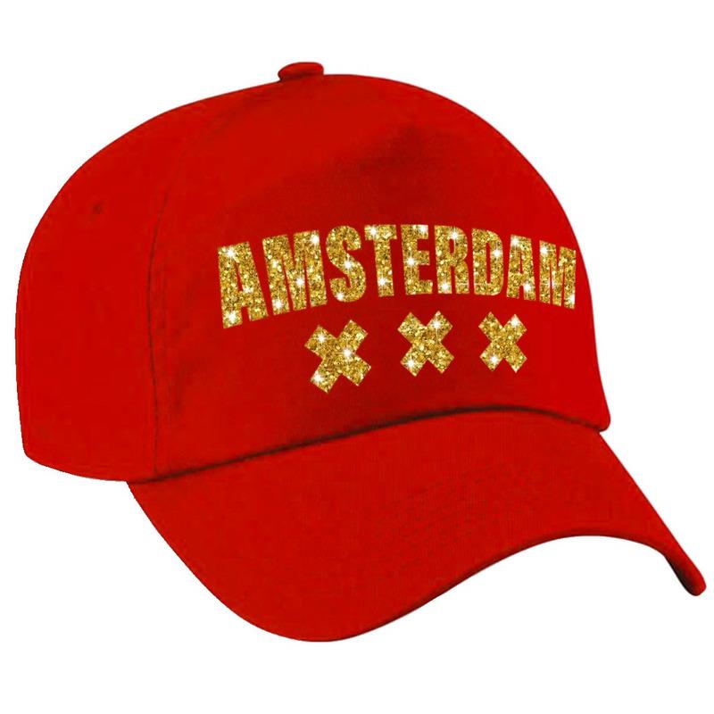 Amsterdam pet cap rood met gouden letters voor dames en heren