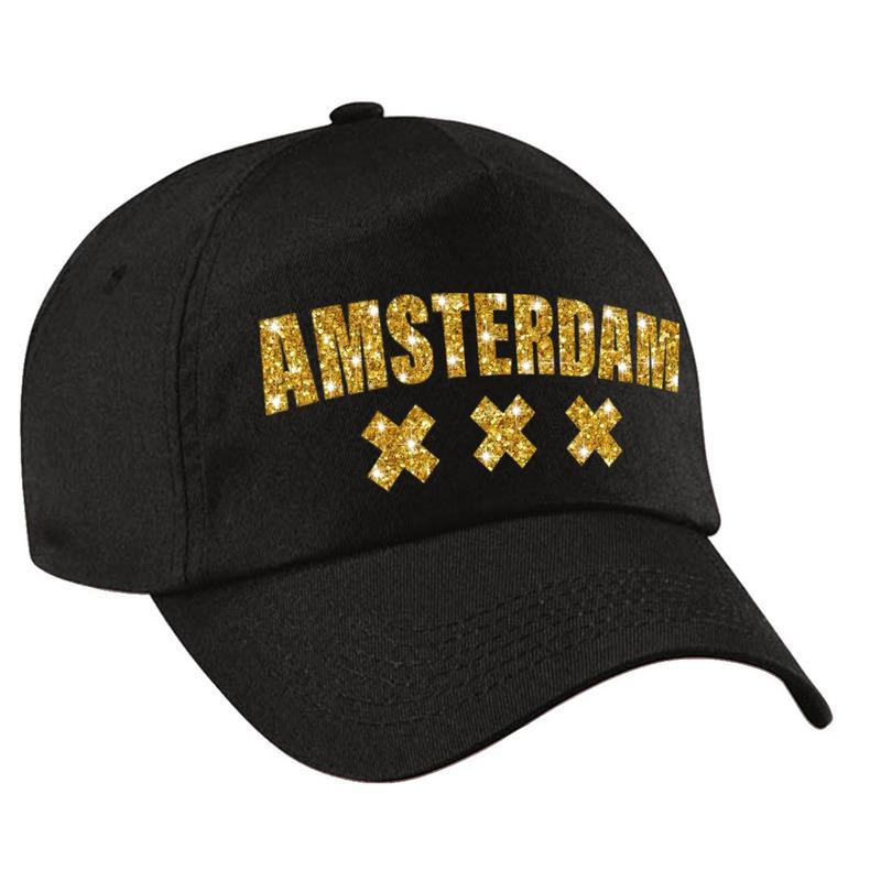 Amsterdam pet cap zwart met gouden letters voor dames en heren