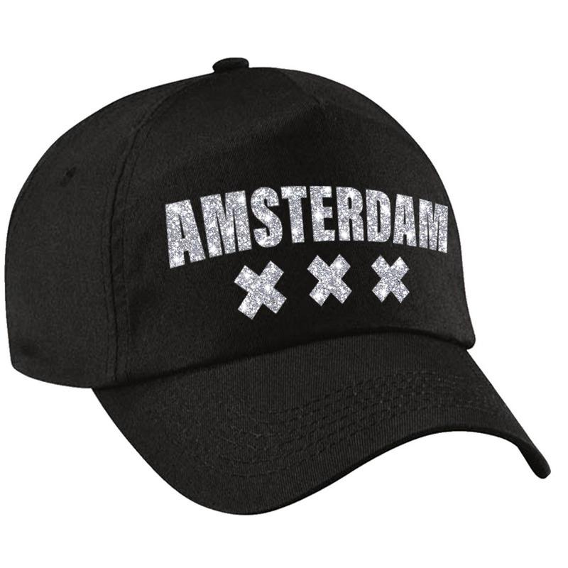 Amsterdam pet cap zwart met zilveren letters voor dames en heren