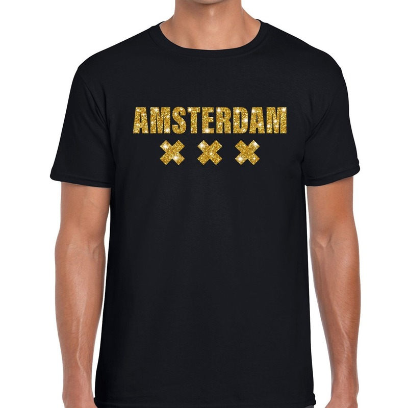 Amsterdam gouden letters fun t shirt zwart voor heren
