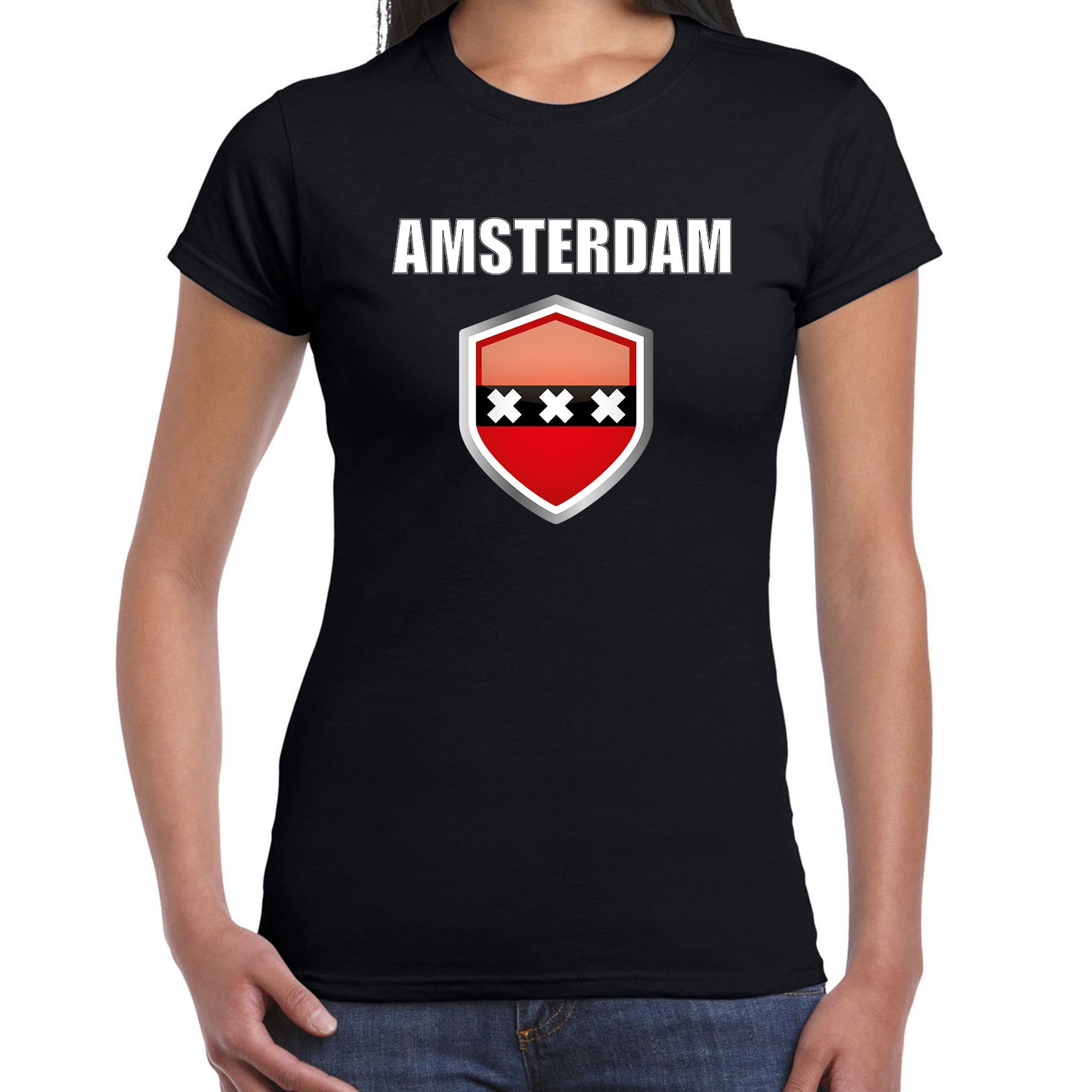 Amsterdam fun supporter t shirt dames met amsterdamse vlag in vlaggenschild