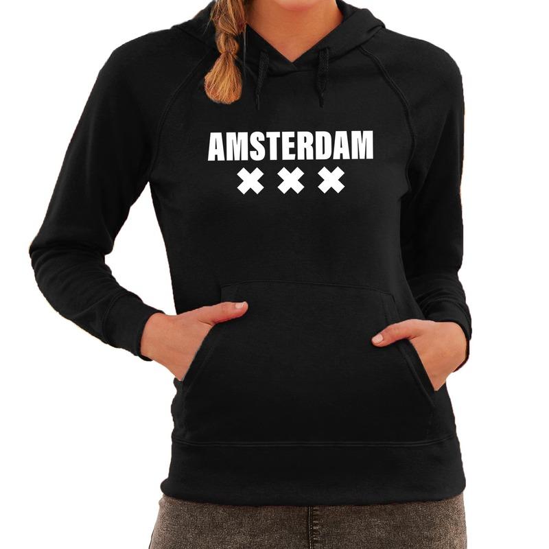 Hooded sweater zwart met amsterdam bedrukking voor dames