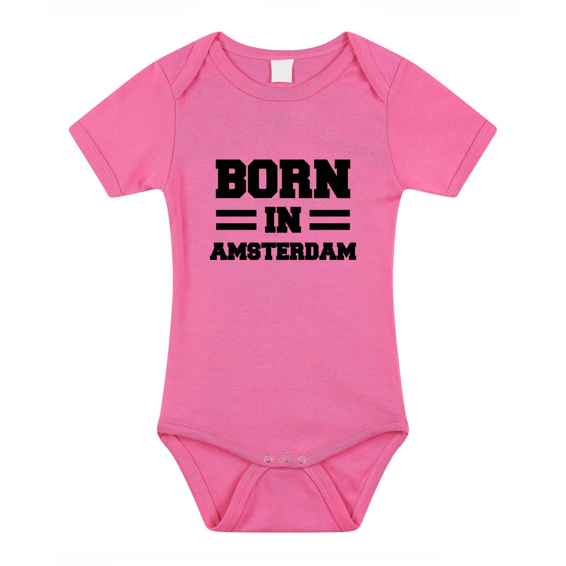 Born in amsterdam kraamcadeau rompertje roze meisjes