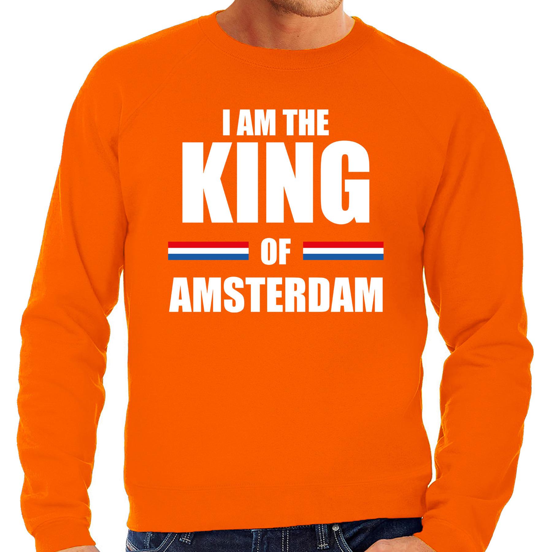 Oranje i am the king of amsterdam sweater koningsdag truien voor heren