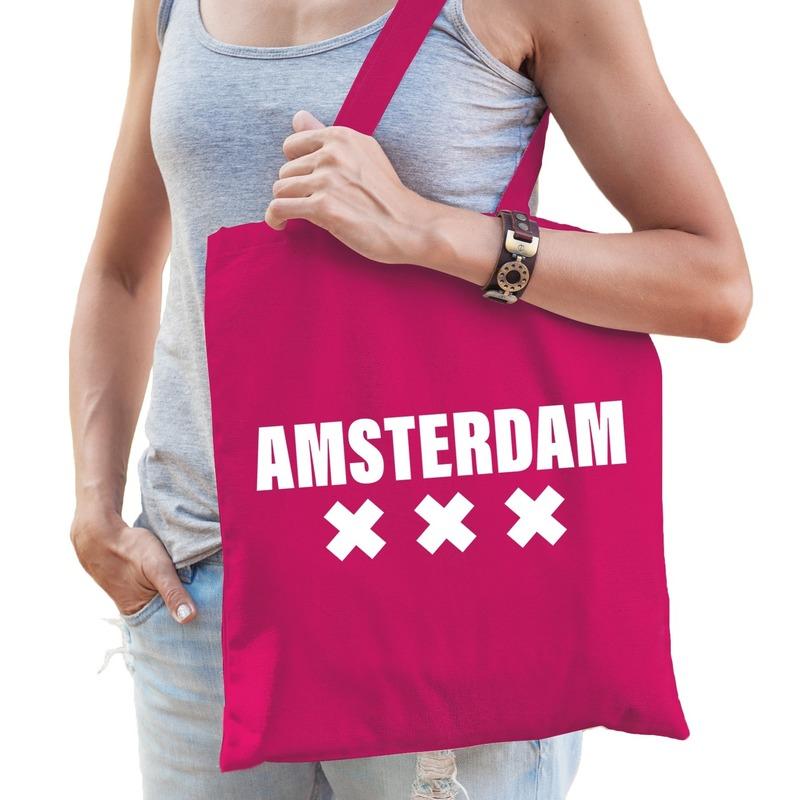 Amsterdam schoudertas fuchsia roze katoen