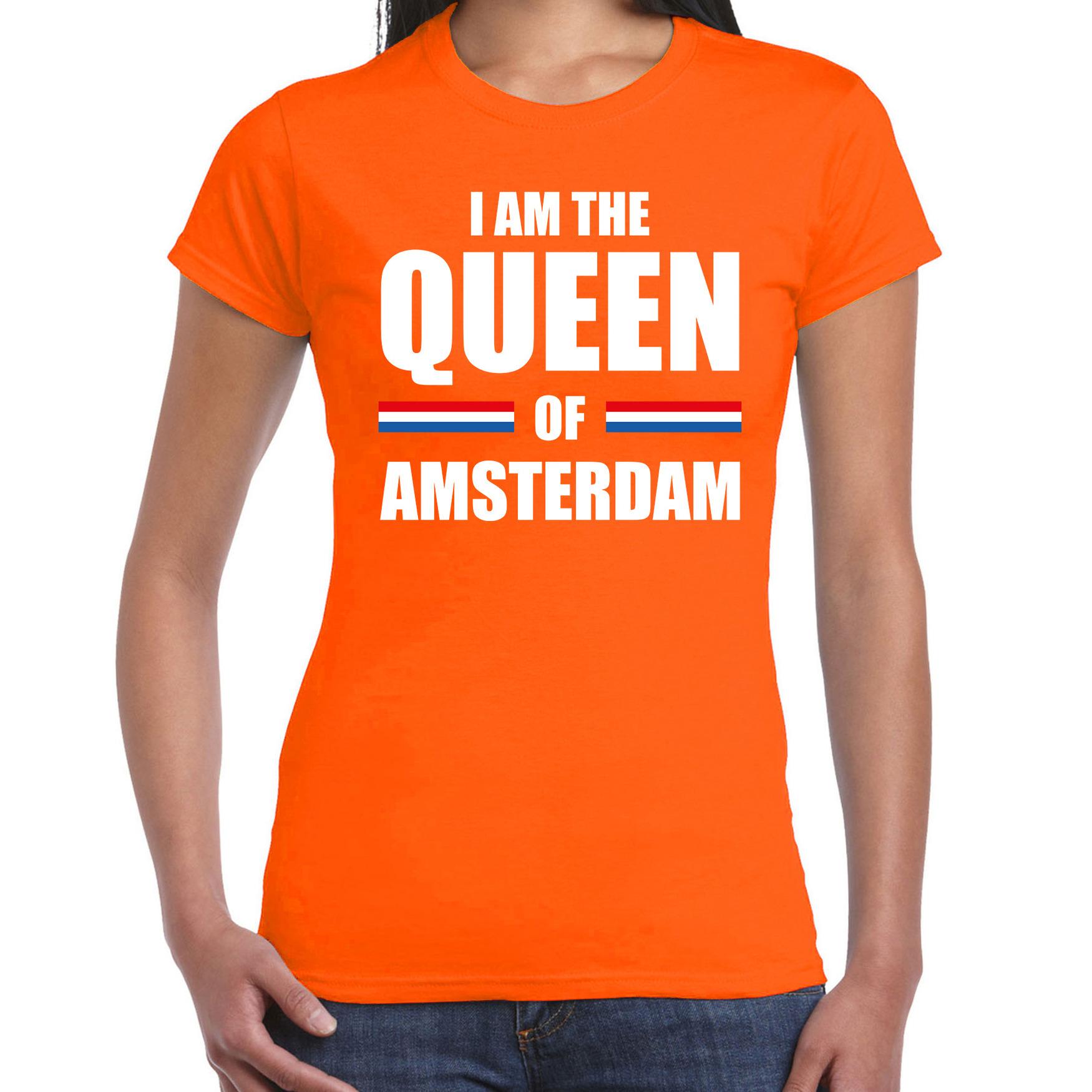 Oranje i am the queen of amsterdam shirt koningsdag t shirt voor dames