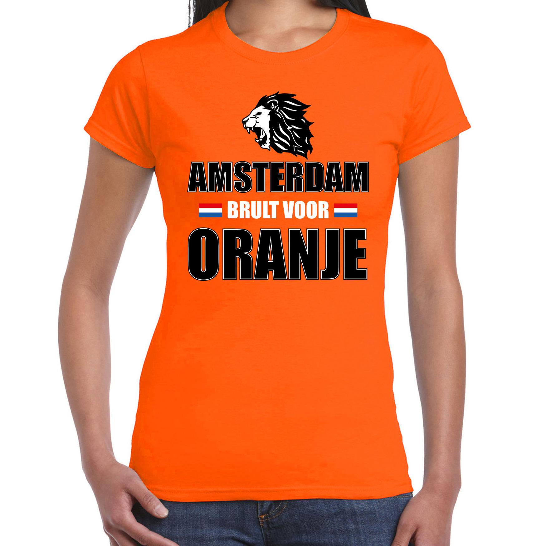 Oranje ek wk fan shirt kleding amsterdam brult voor oranje voor dames
