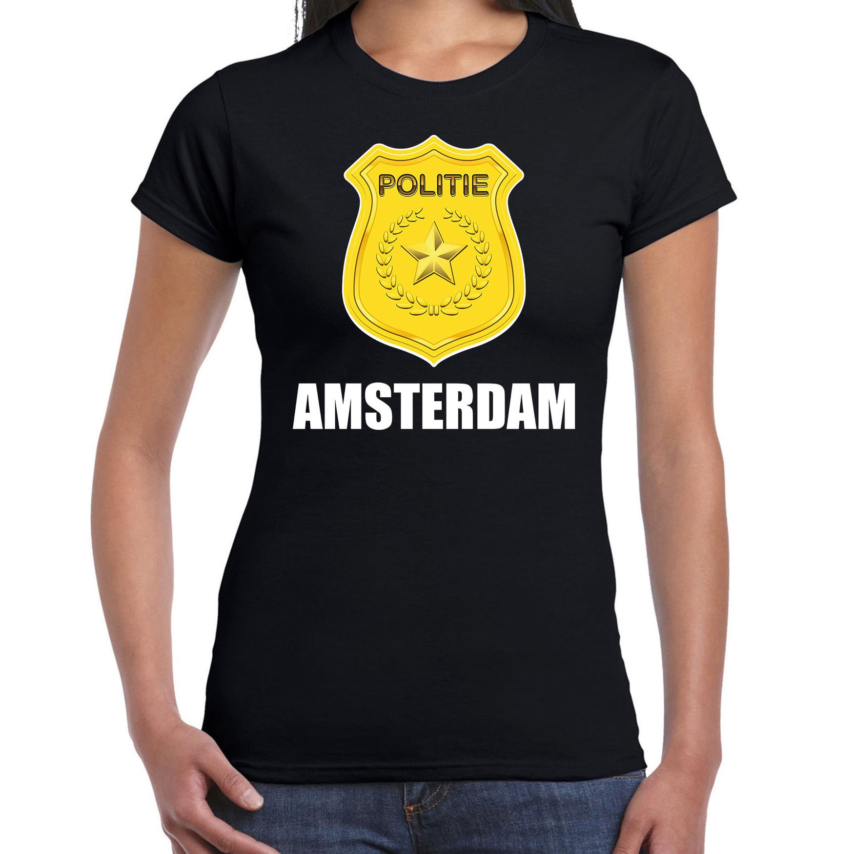 Carnaval shirt outfit amsterdam politie embleem zwart voor dames