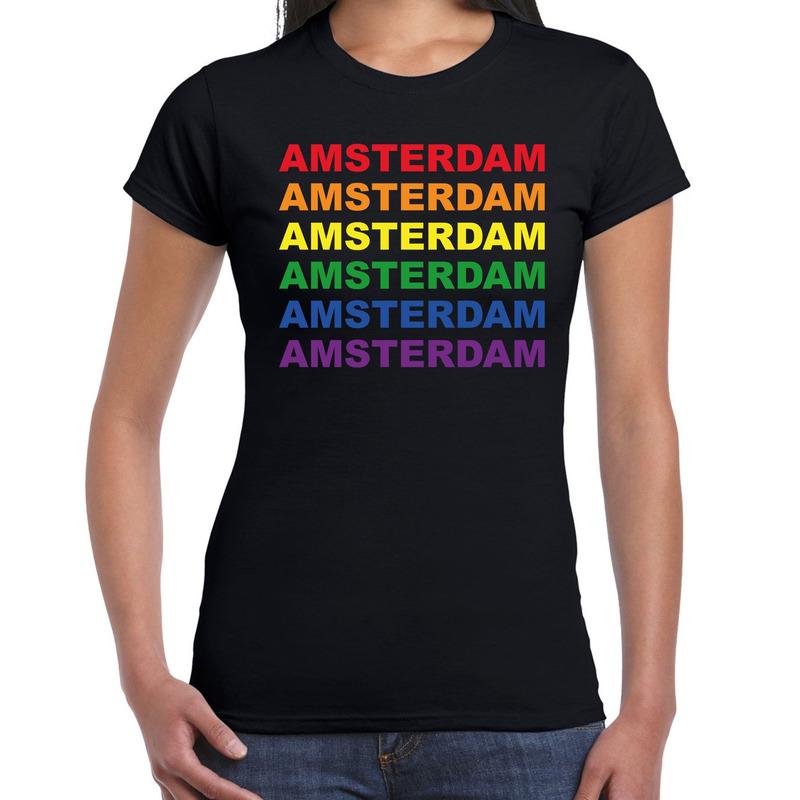 Regenboog amsterdam gay pride evenement shirt voor dames zwart