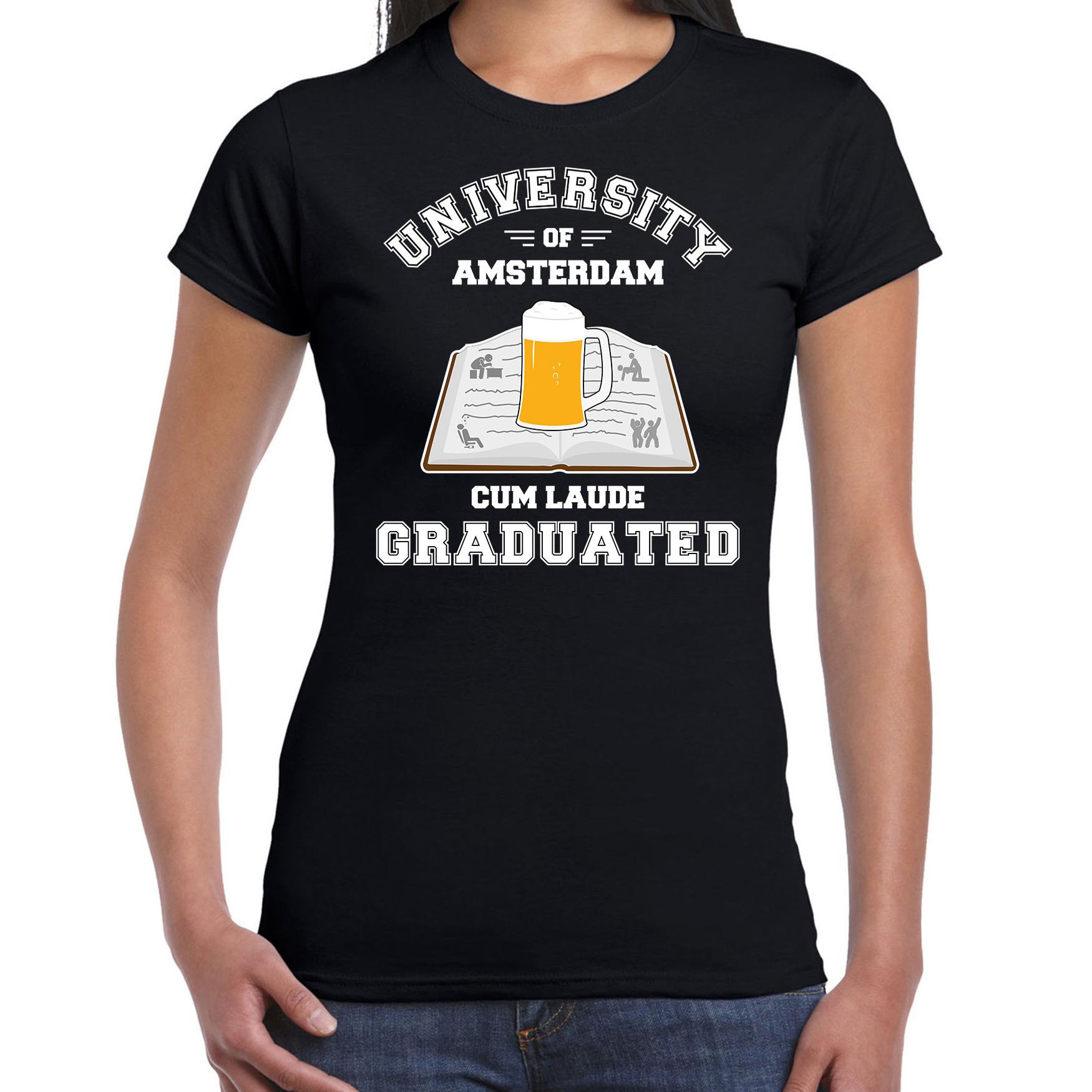 Studenten carnaval shirt zwart university of amsterdam afgestudeerd voor dames