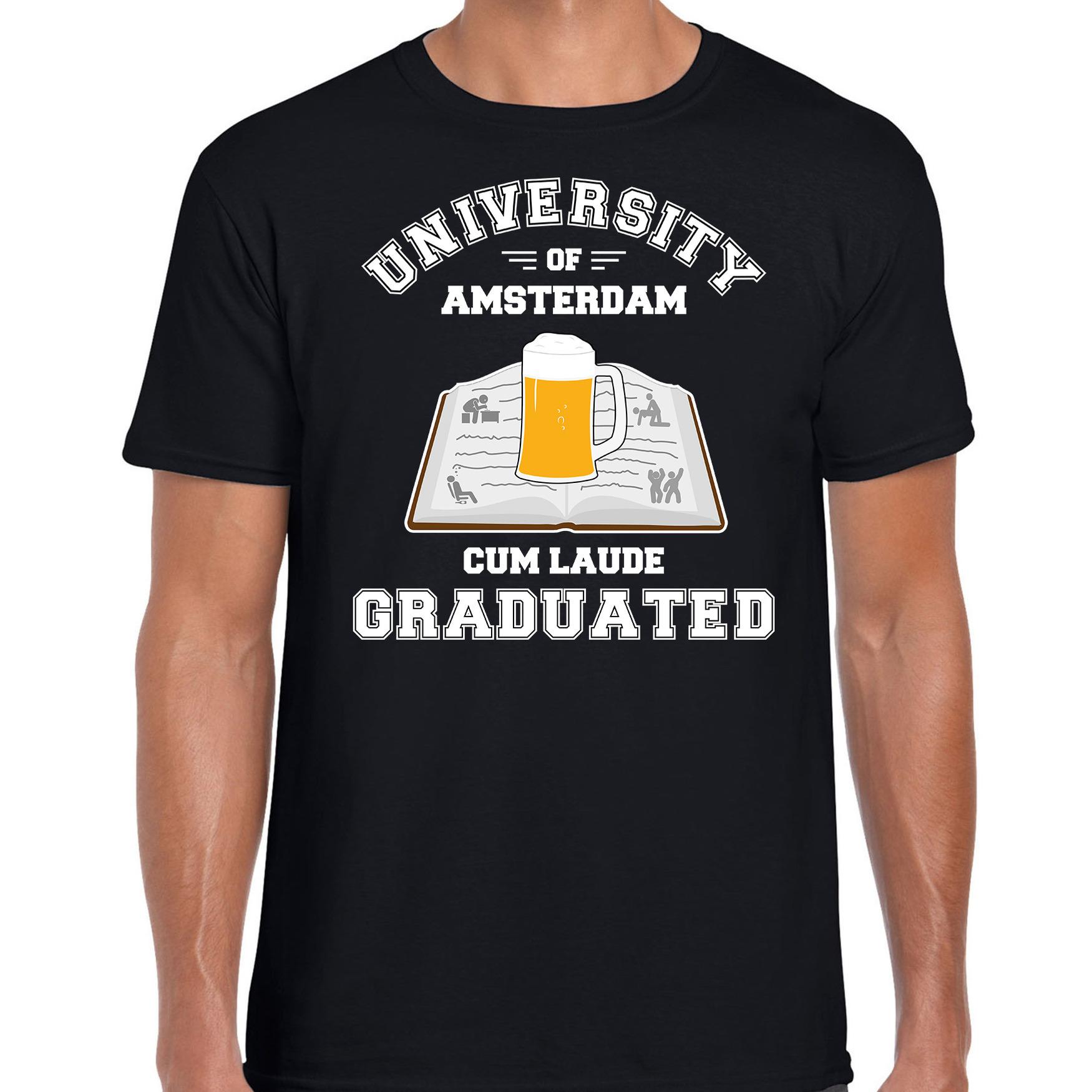 Studenten carnaval shirt zwart university of amsterdam afgestudeerd voor heren